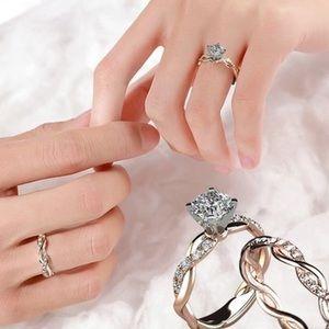 2pc 18K Rose Gold Plated Diamond Ring Set